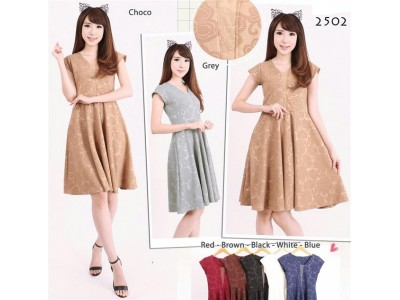 Dress Pesta Wedges Emboss Seri 7 Warna #2502