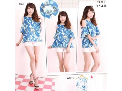 Casual Flower Top With Cut Out Shoulder #2548