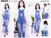 Jumpsuit jeans stretch bordir #974 S/M/L