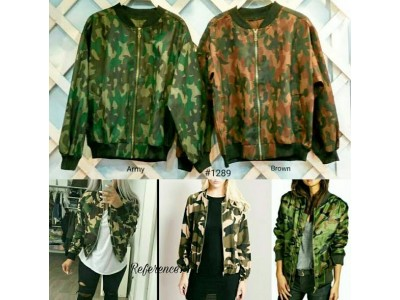 Canvas Bomber Jacket Army #1298