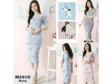 Dress Motif Birdie Zara Lengan 3/4 @M291U