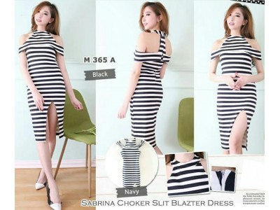 Stripes Sabrina High Neck Dress #/M365