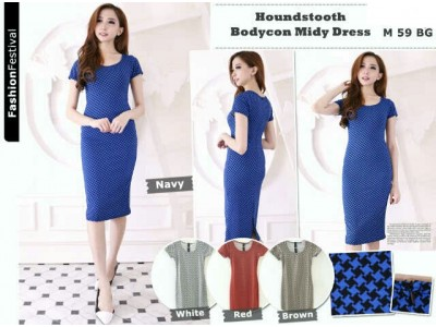 Houndstooth Bodycon Midy Dress #M59BG