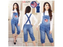 Jumpsuit Jeans 7/8 Robek Bordir Usa #029