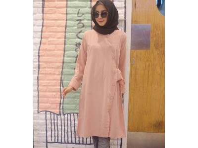 Dress Hijab Kancing Depan #1182