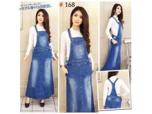 Overall Jeans Ripped Maxi Dress #168 M/L/XL