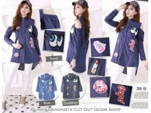 Cut-out Jeans Shirt With Patches #39D