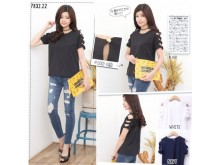 Atasan Lengan Pita Cut-out #7832