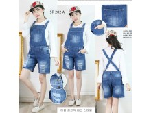Celana overall jeans sobek #202A S/M/L