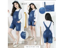 Overall jeans stretch celana pendek #217 XL