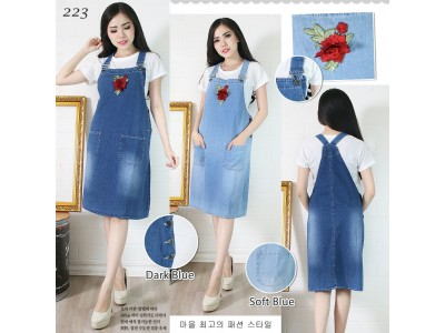 Overall dress jeans bordir bunga #223
