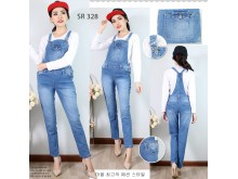 Celana overall jeans stretch panjang #328 M/L/XL