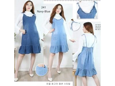 Overall jeans flare dress #241