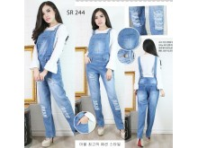 Overall jeans wash sobek muda #244 S/M/L
