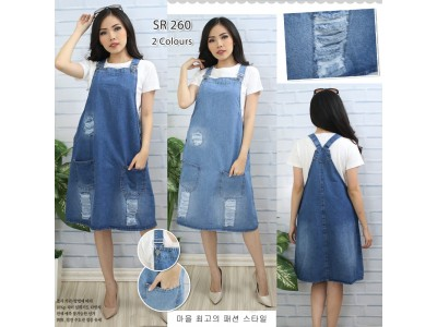Overall ripped jeans midi dress 7/8 #260