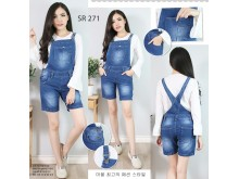 Overall jeans celana pendek stretch #271 S/M/L