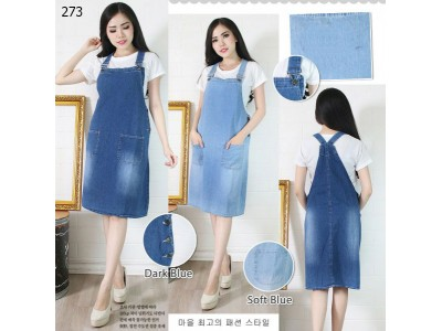 Overall Dress Jeans Midi #273