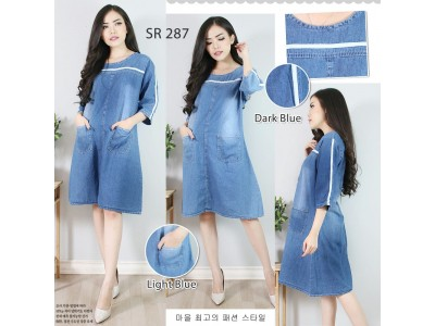 Dress Tunik Jeans Garis #287