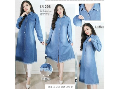 Dress jeans kancing bawah jumbai #298