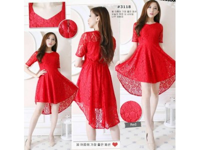 Dress Brokat Khusus Merah #3118