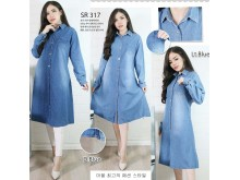 Dress jeans kancing 2 warna #317