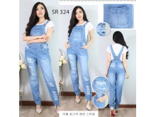 Overall jeans stretch panjang #324 S/M/L