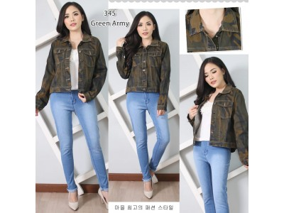 Jaket jeans army strecth #345