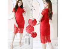 Dress Brukat Imlek Khusus Merah #593