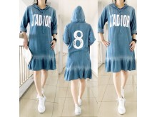 Dress Jeans Bordir Lengan Karet #8247