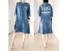 Dress Jeans Kancing Topi Vogue #8378
