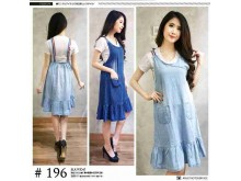 Dress jeans tunik tali pita #196