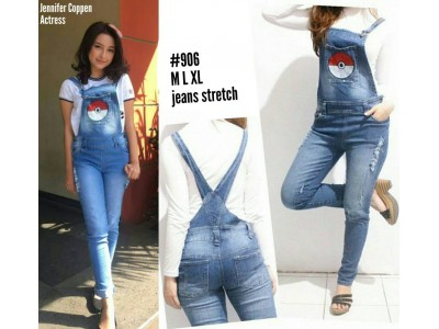 Jumpsuit Jeans Stretch Bordir Pokemon #906