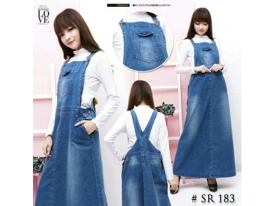 Dress Maxi Kodok Jeans Stretch Jumbo #183 2XL/3XL/4XL