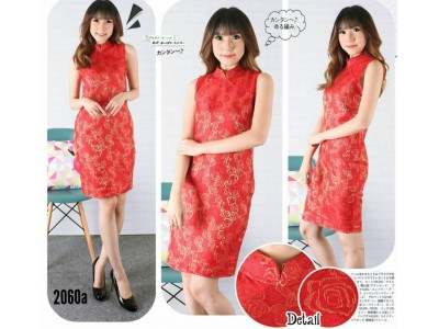 Dress Cheongsam Merah Mawar #2060a