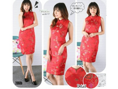 Dress Imlek Merah Jacquard #2060b