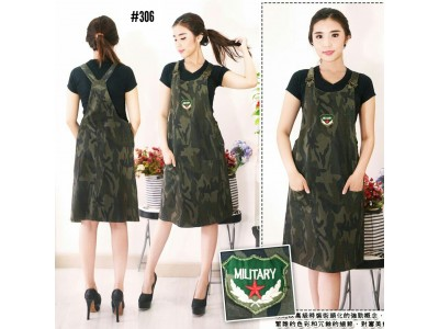 Overall Dress army strecth #306
