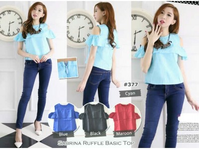 Sabrina Ruffle Basic Top #377