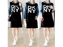 Hoodie Dress Babyterry Lengan Jeans DKNY #8532