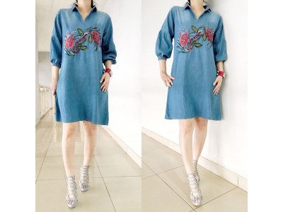Dress Jeans Kerah Bordir Bunga #8534