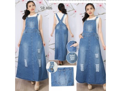 Overall Jeans Rok Panjang #406 M L XL