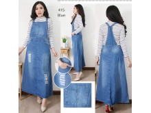 Overall Jeans Rok Panjang Robek #415 M L XL