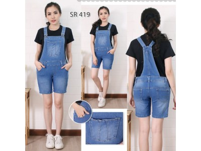 Overall Celana Jeans Polos #419 M L XL