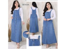 Jumpsuit Dress Jeans Stretch Full Kancing #434 M L XL