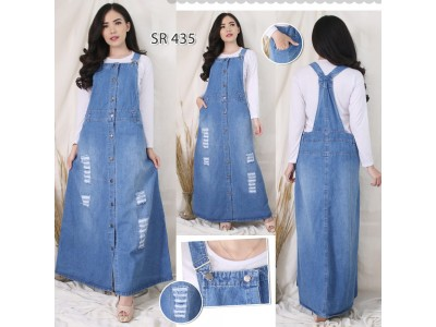 Jumpsuit Dress Jeans Full Kancing Sobek #435 2XL/3XL/4XL