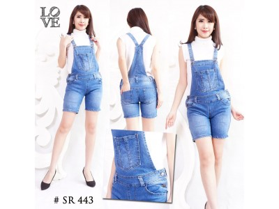 Overall Jeans Stretch Celana Pendek #443 M/L/XL