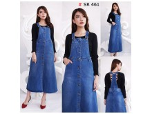Jumpsuit Dress Jeans Strecth Full Kancing #461 M/L/XL