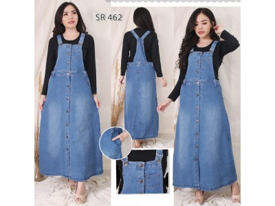Jumpsuit Dress Jeans Strecth Full Kancing #462 2XL/3XL/4XL