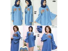 Tunik Dress Jeans Bordir Lengan Lebar #064
